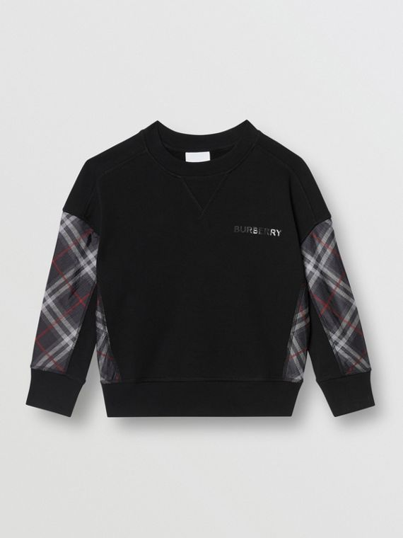 Vintage Check Panel Cotton Sweatshirt in Black