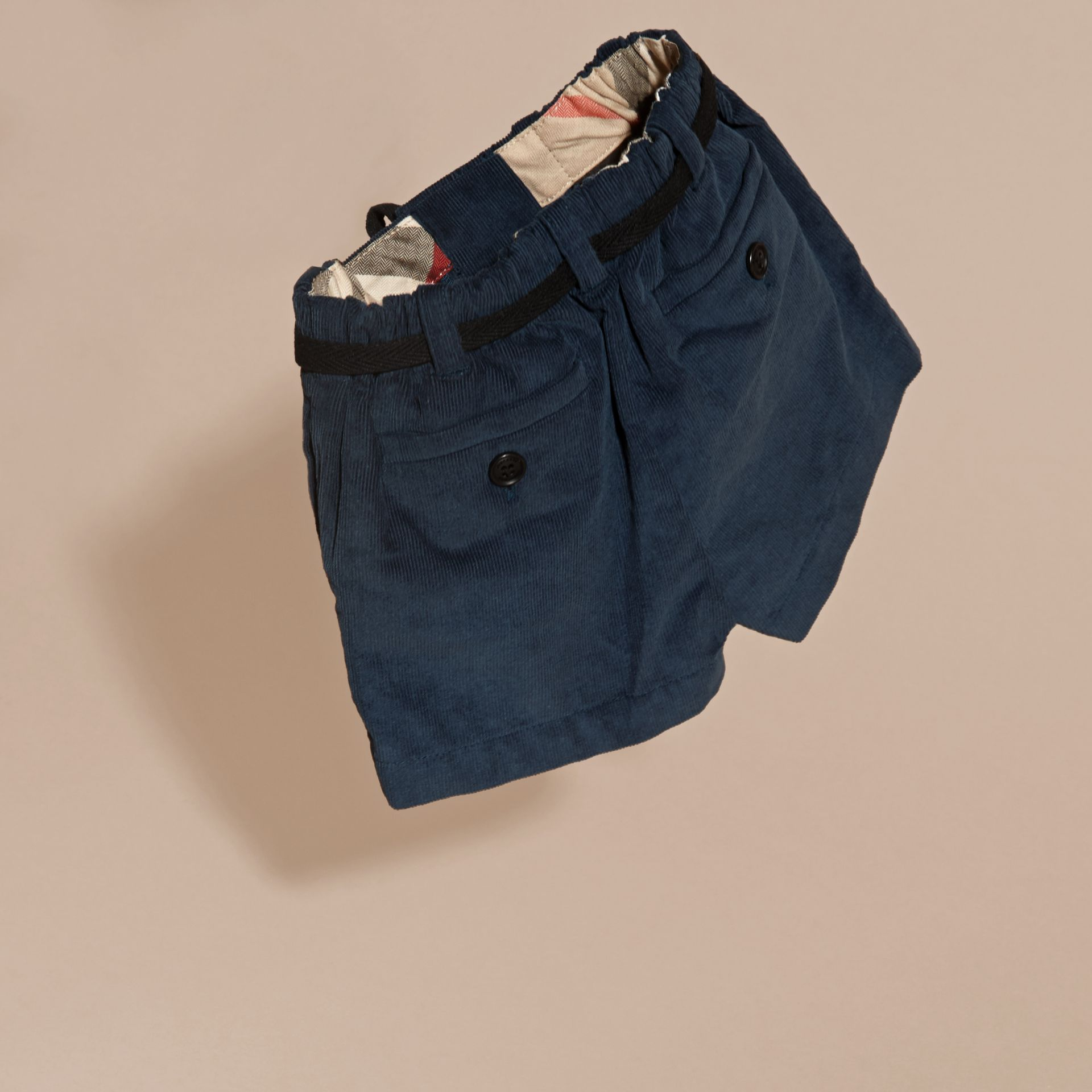 Deep teal blue Belted Cotton Corduroy Shorts - gallery image 4