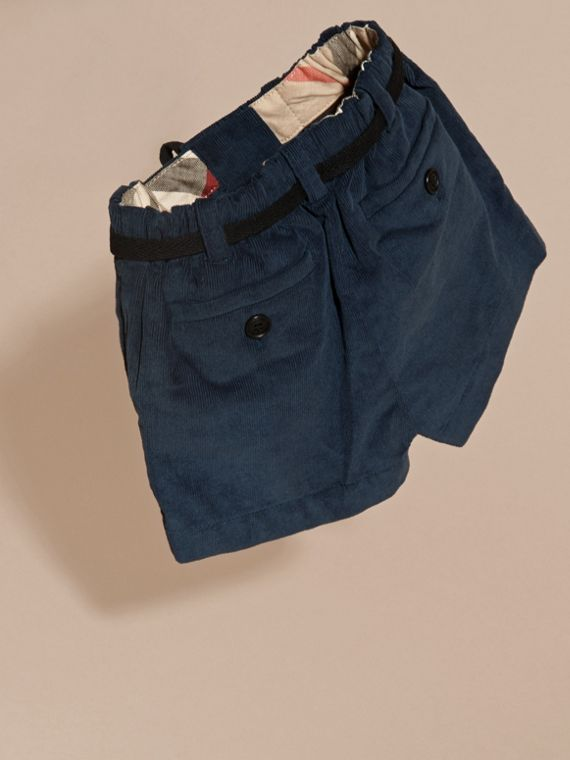 Deep teal blue Belted Cotton Corduroy Shorts - cell image 3