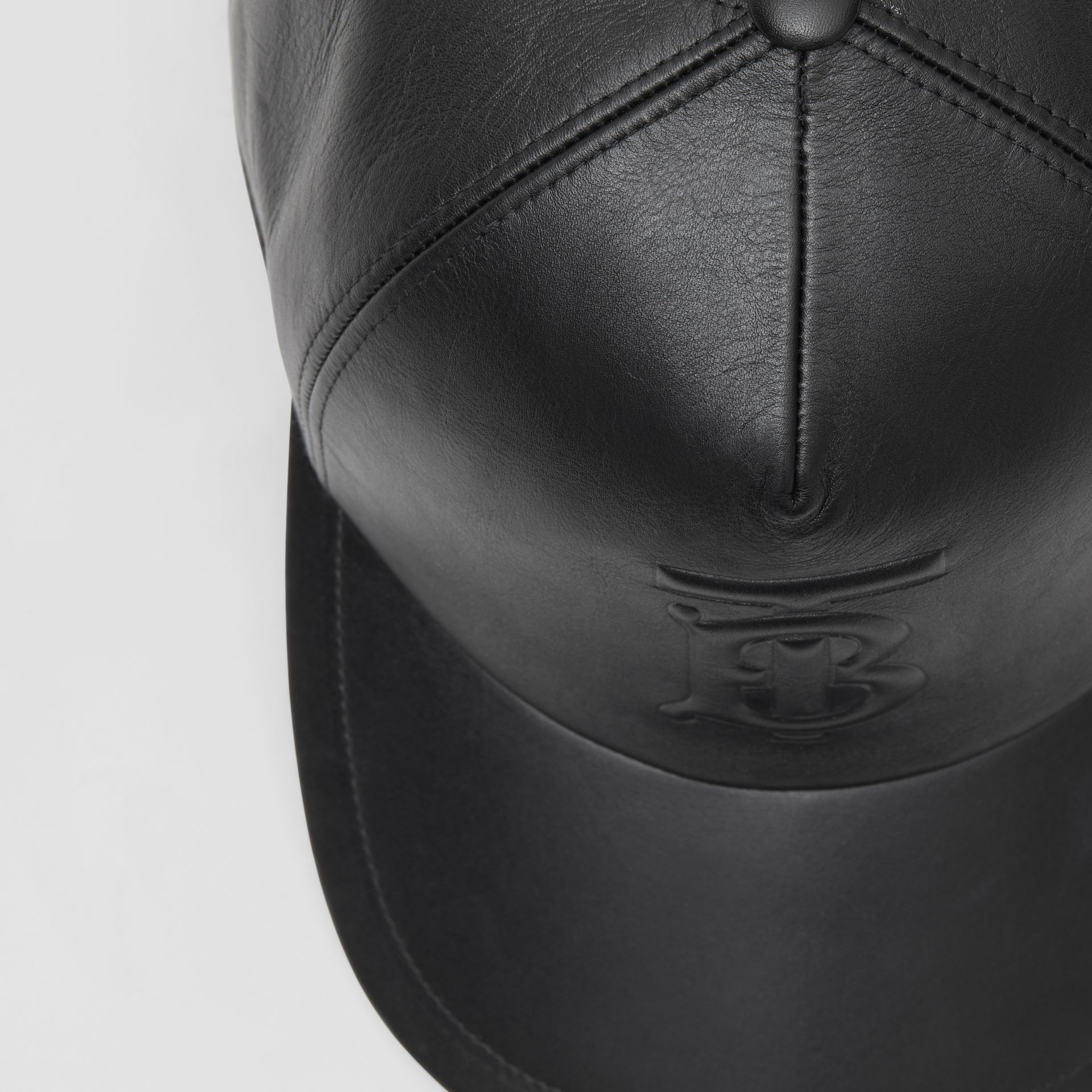 Monogram Motif Leather Baseball Cap in Black | Burberry - gallery image 1