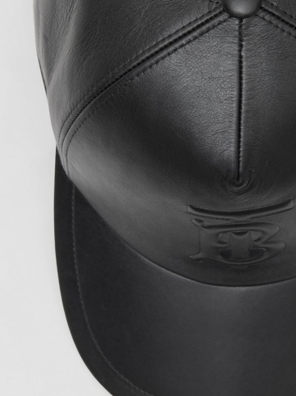 Monogram Motif Leather Baseball Cap in Black | Burberry United Kingdom - cell image 1