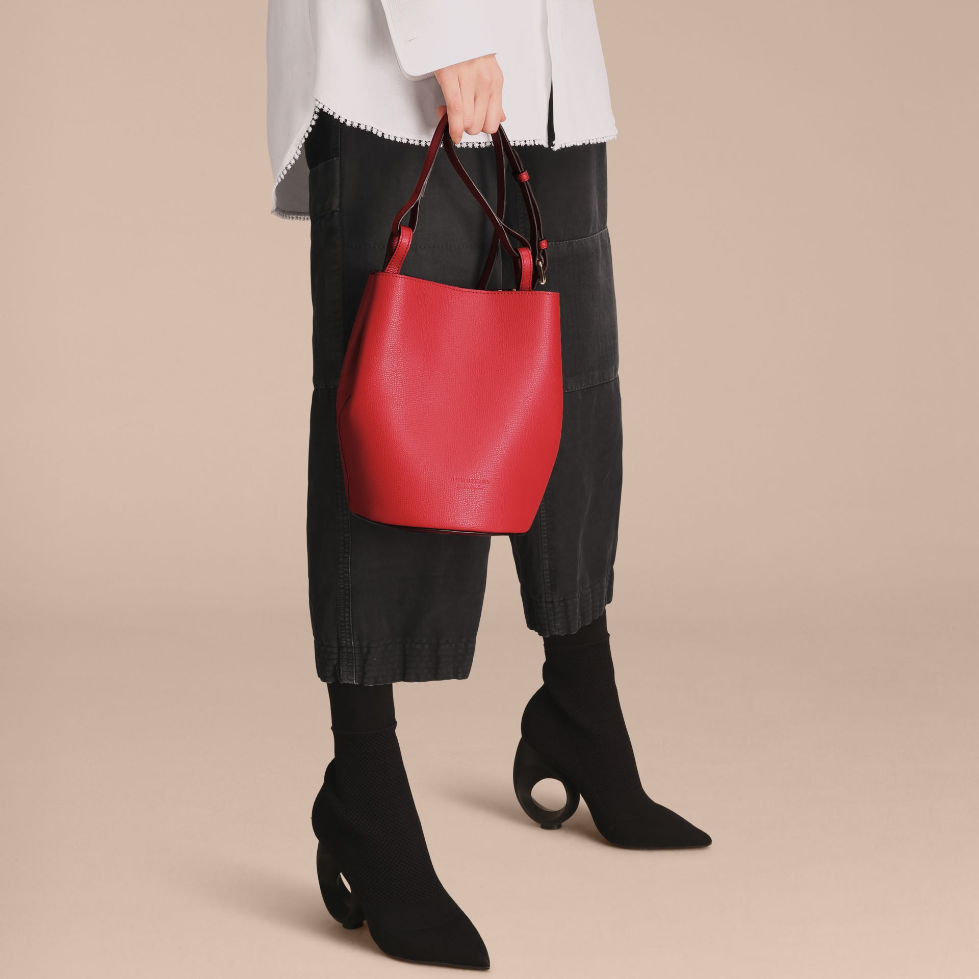 Leather and Haymarket Check Crossbody Bucket Bag in Poppy Red - Women | Burberry Australia - gallery image 3