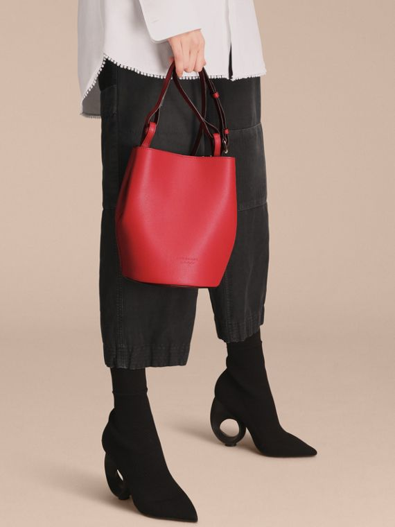 Leather and Haymarket Check Crossbody Bucket Bag in Poppy Red - Women | Burberry - cell image 2