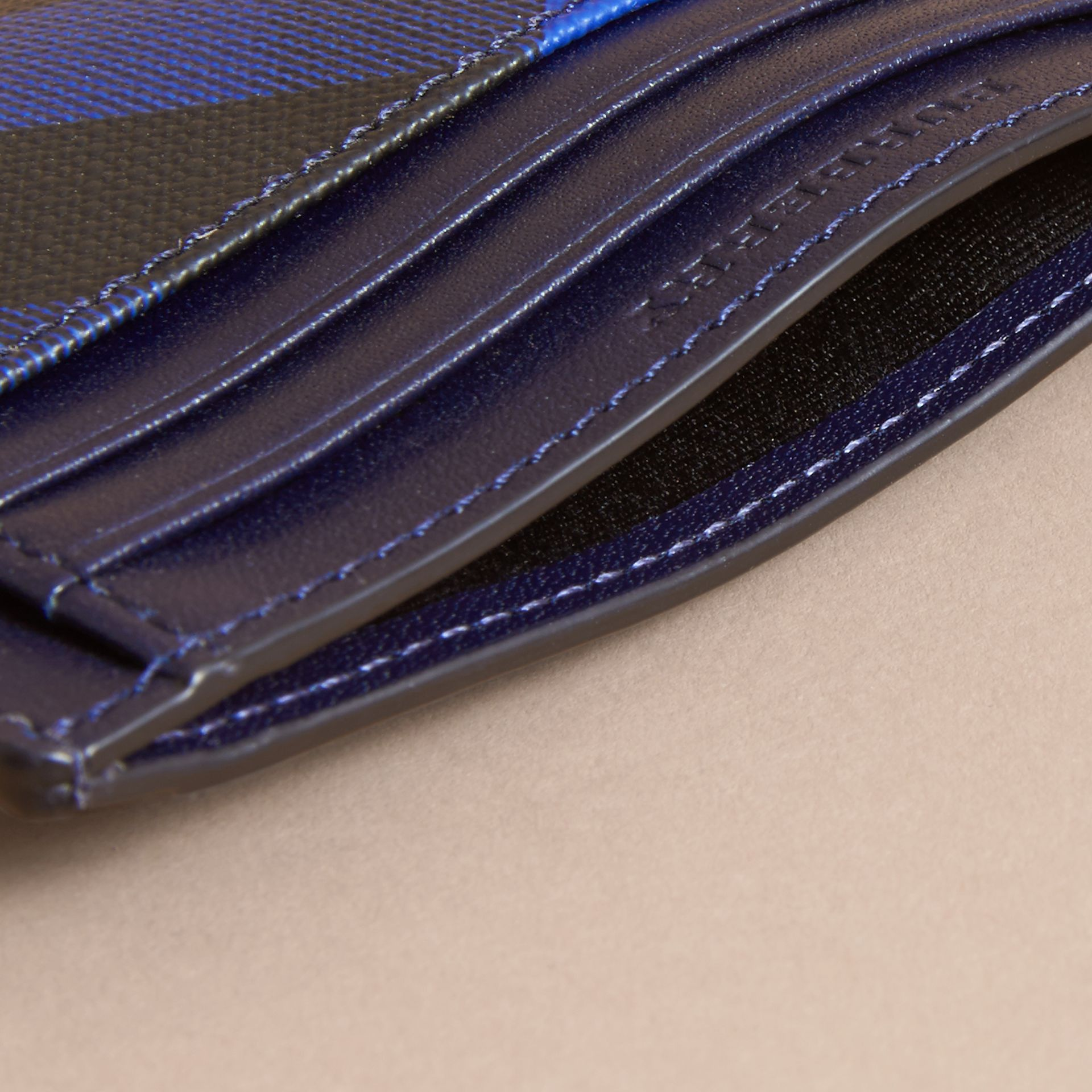 London Check Card Case in Bright Lapis - Men | Burberry - gallery image 4