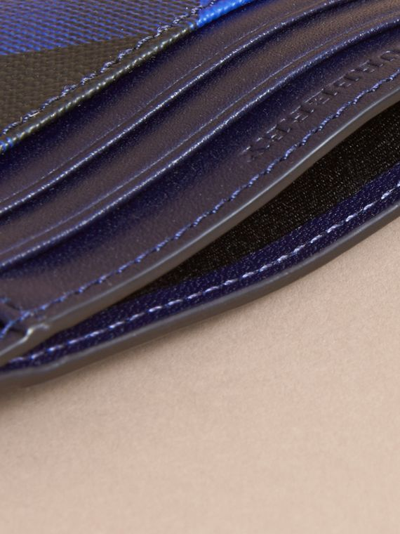 London Check Card Case in Bright Lapis - Men | Burberry - cell image 3