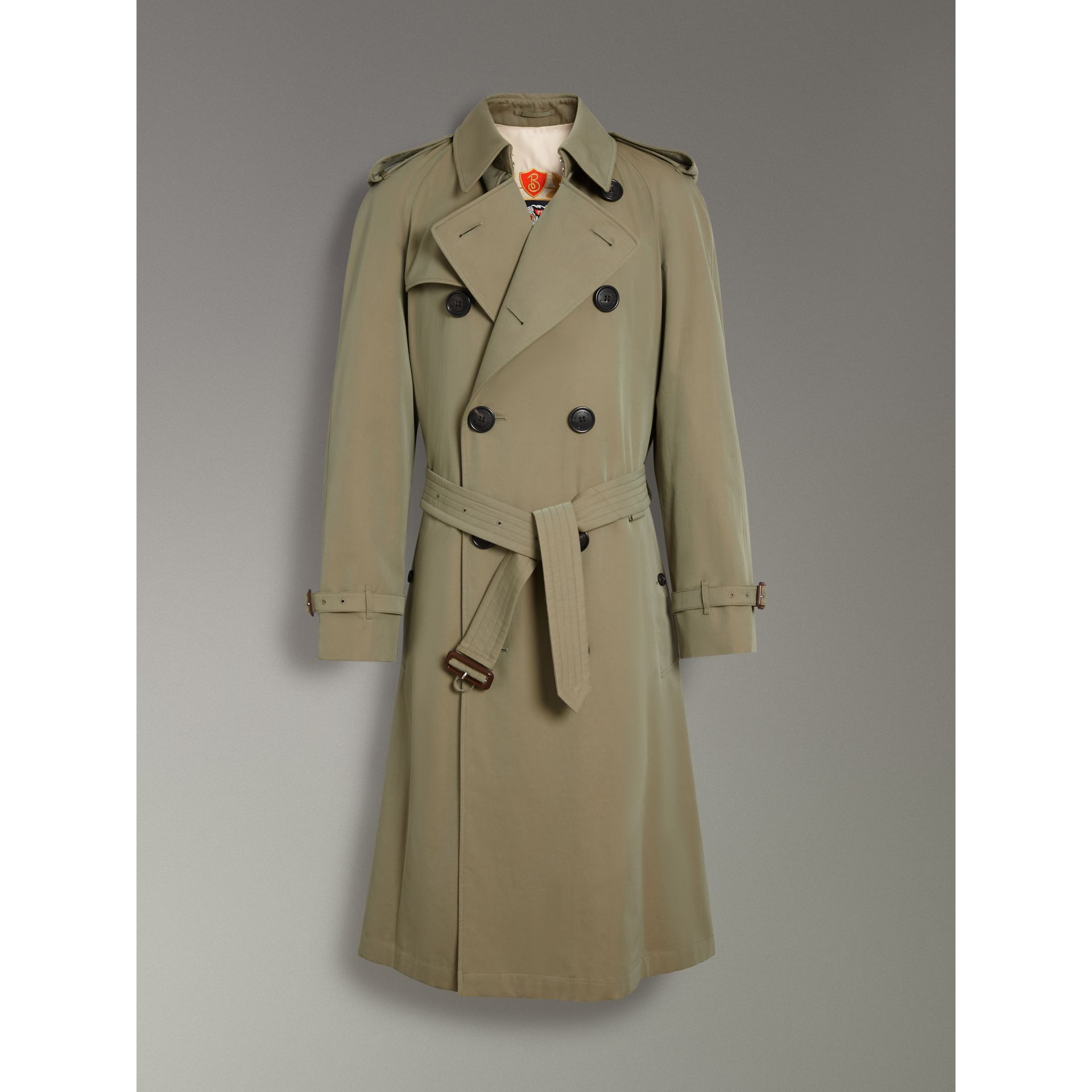 Tropical Gabardine Oversized Trench Coat in Chalk Green - Men | Burberry United Kingdom - gallery image 3