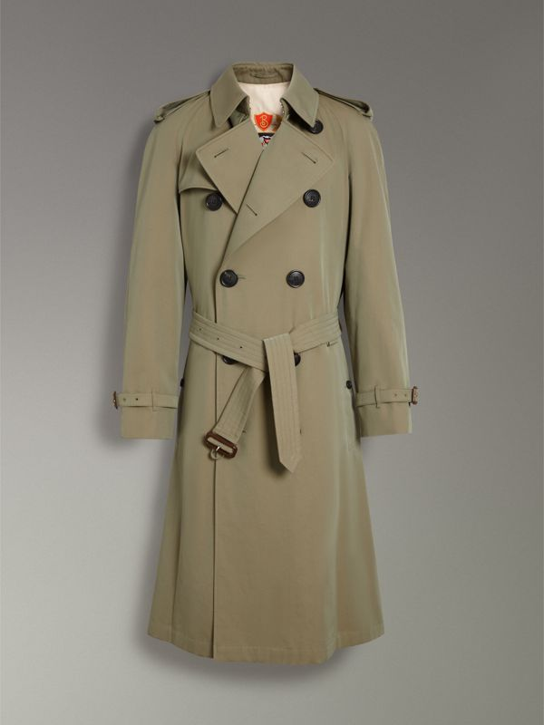 Tropical Gabardine Oversized Trench Coat in Chalk Green - Men | Burberry Singapore - cell image 3