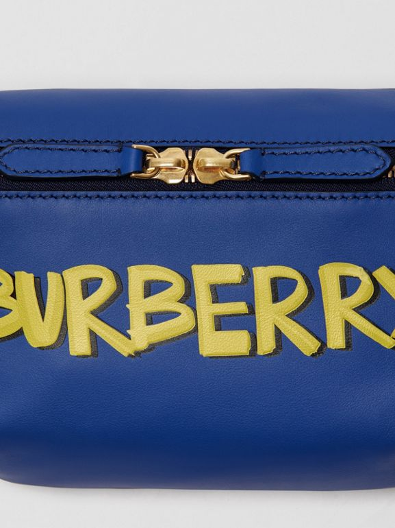 Medium Graffiti Print Leather Bum Bag in Denim Blue - Men | Burberry - cell image 1