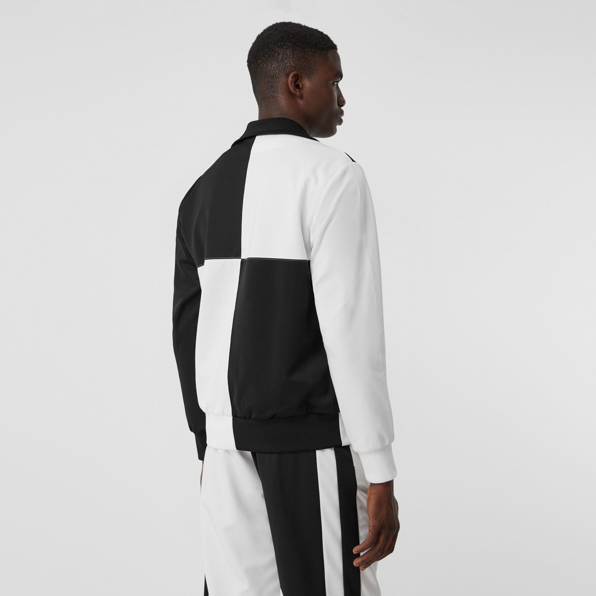 Logo Graphic Two-tone Jersey Track Top in Black - Men | Burberry United Kingdom - gallery image 2