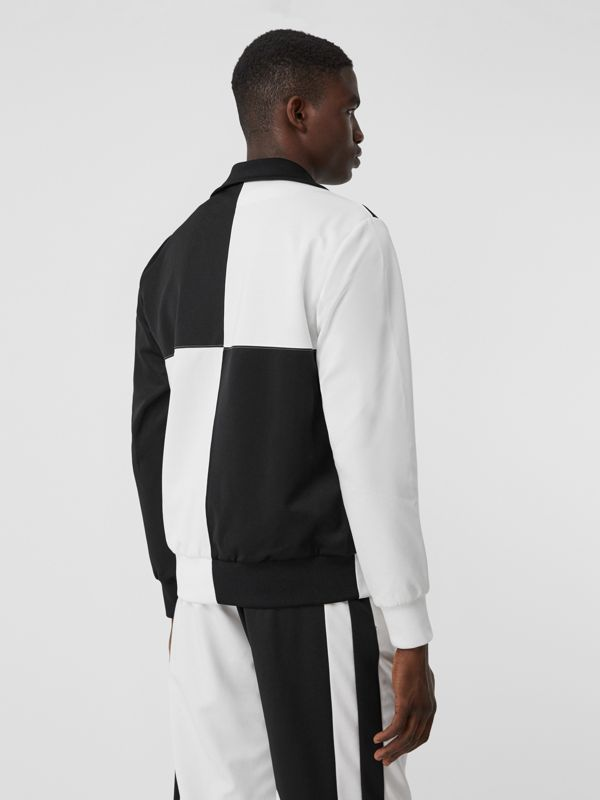 Logo Graphic Two-tone Jersey Track Top in Black - Men | Burberry United Kingdom - cell image 2