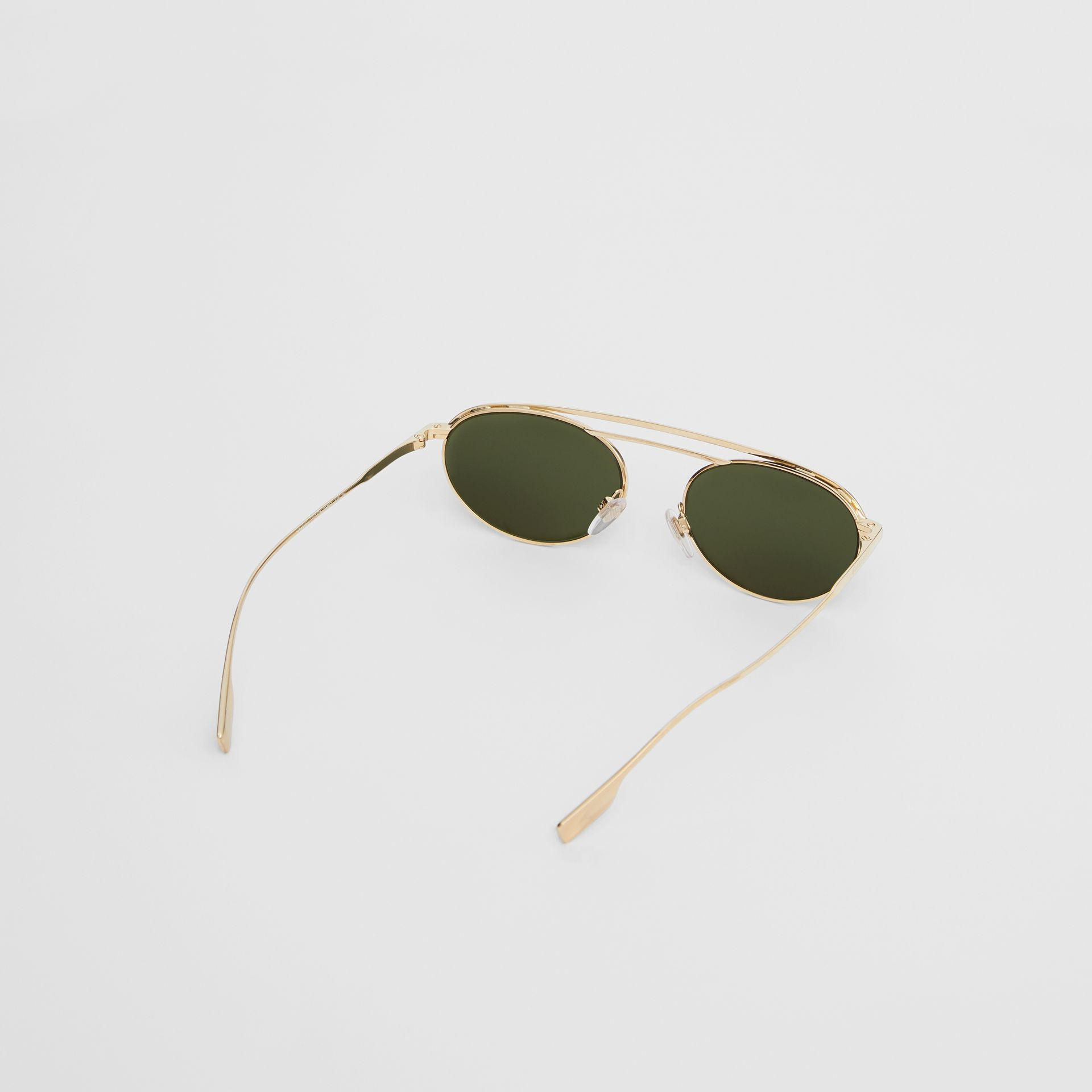 Oval Frame Sunglasses in Green - Women | Burberry - gallery image 4