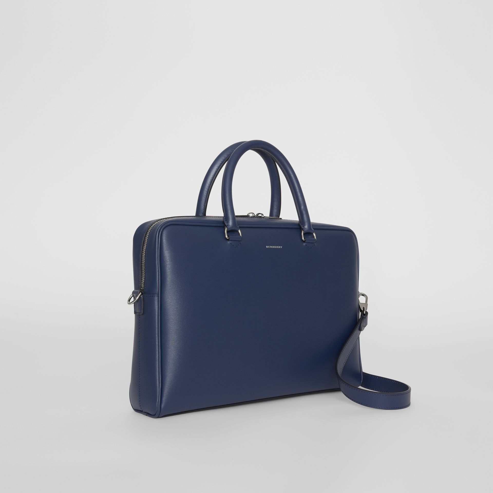 London Leather Briefcase in Navy - Men | Burberry - gallery image 6