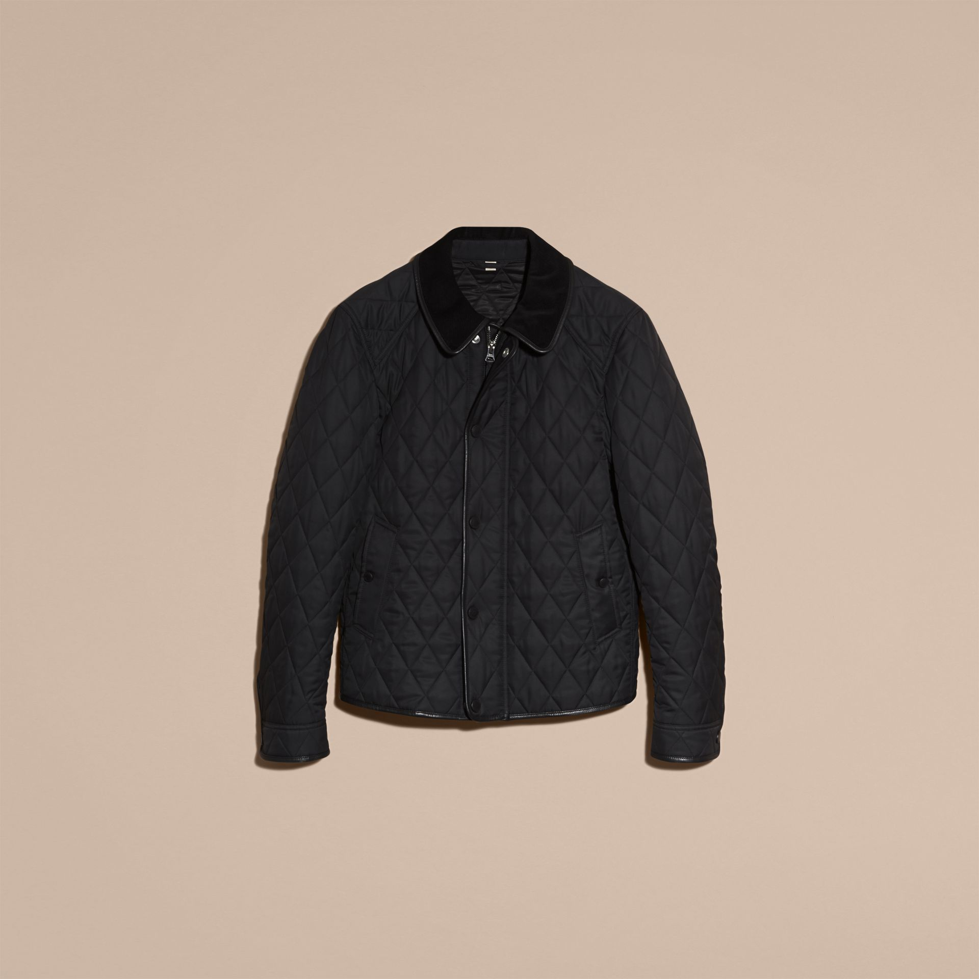 Leather Piping Corduroy Collar Quilted Jacket Black - gallery image 4