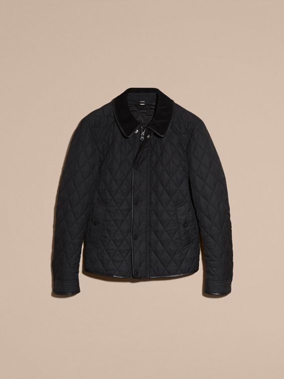 Leather Piping Corduroy Collar Quilted Jacket Black - cell image 3