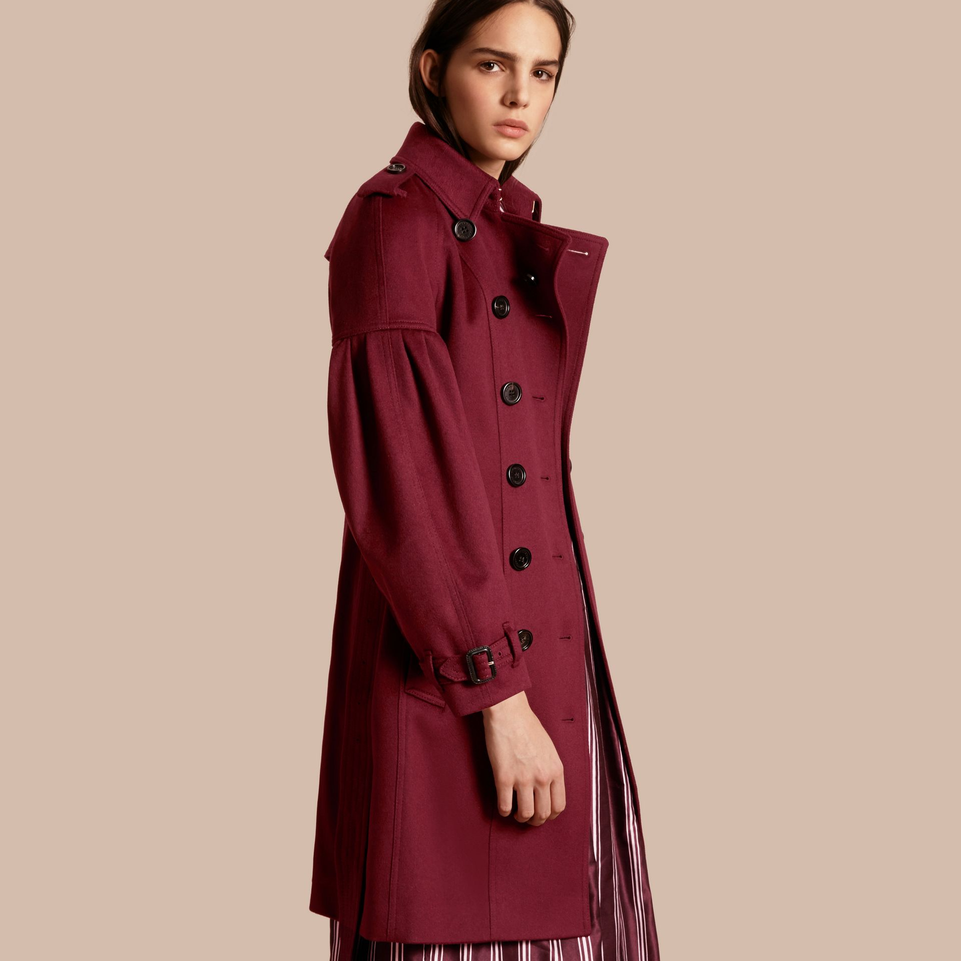 Burgundy Cashmere Trench Coat with Puff Sleeves Burgundy - gallery image 1