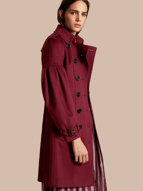 Cashmere Trench Coat with Puff Sleeves in Burgundy