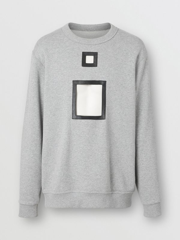 Cut-out Detail Cotton Sweatshirt in Pale Grey Melange - Men | Burberry - cell image 3