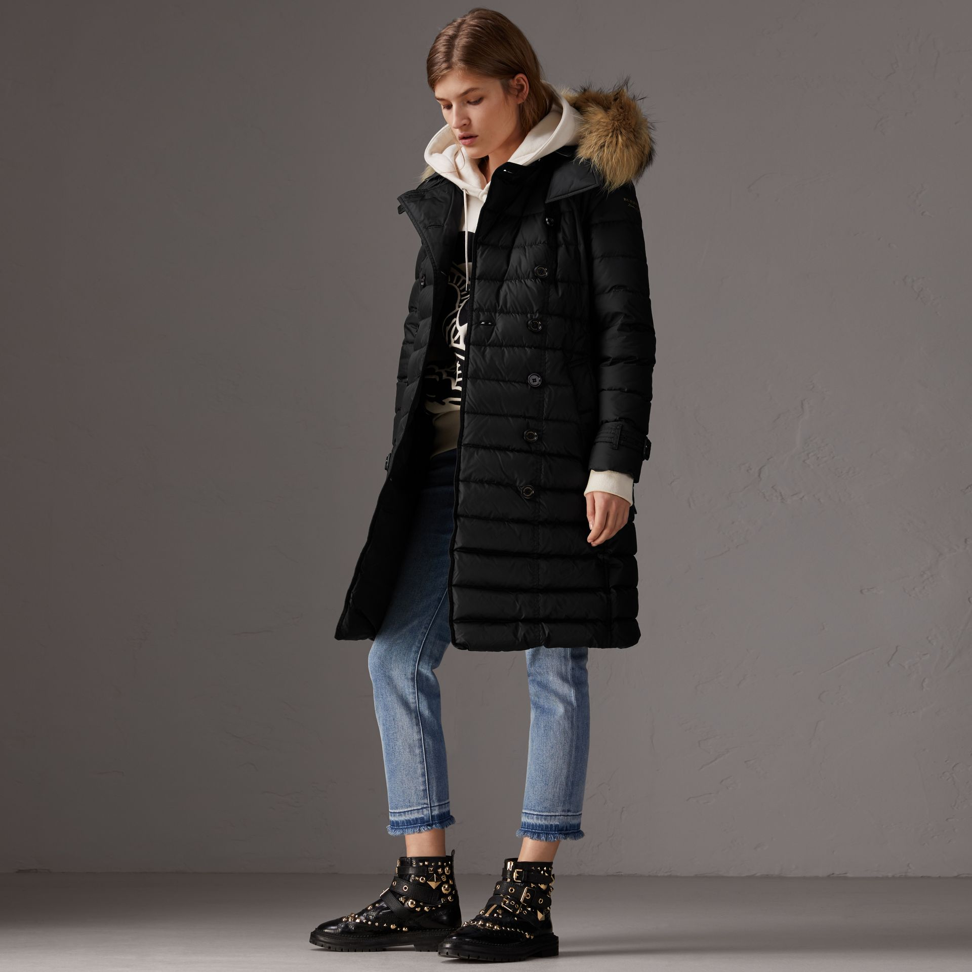 Detachable Hood Fur Trim Down-filled Puffer Coat in Black - Women | Burberry Singapore - gallery image 0