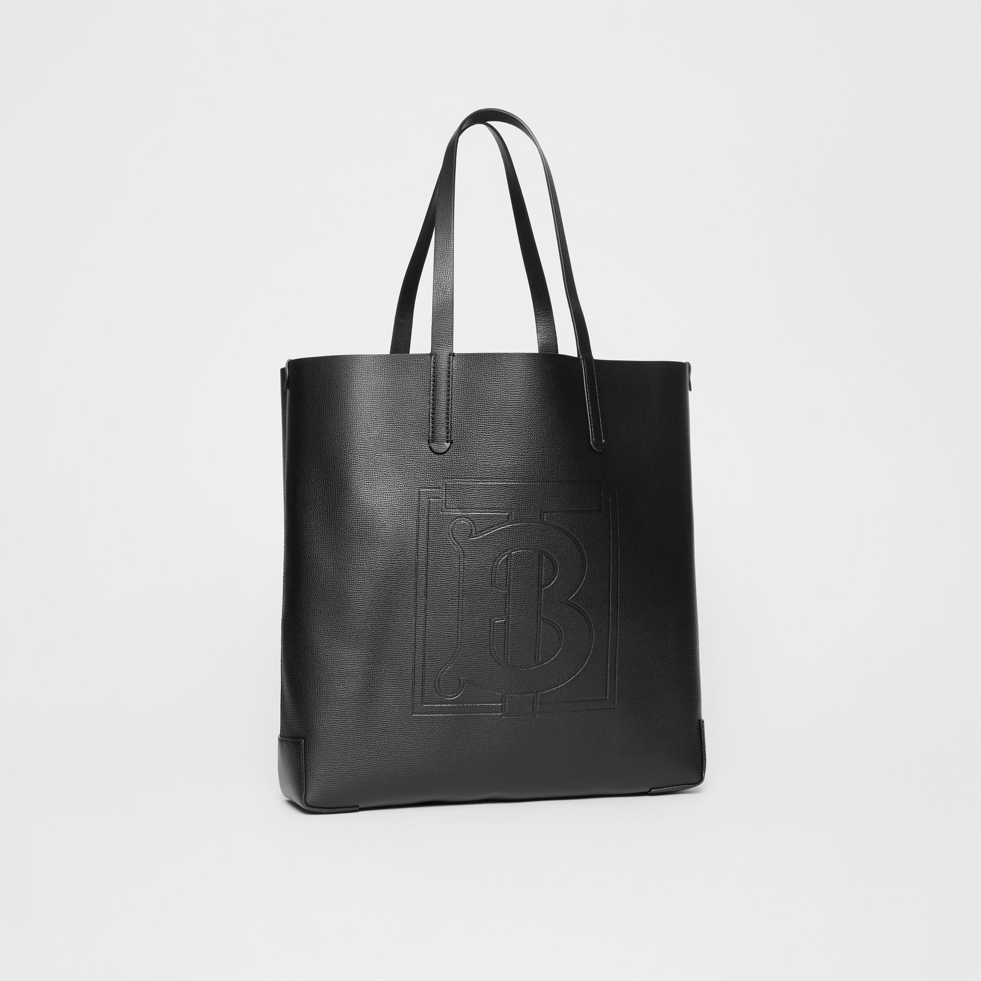 Large Embossed Monogram Motif Leather Tote in Black | Burberry - gallery image 4