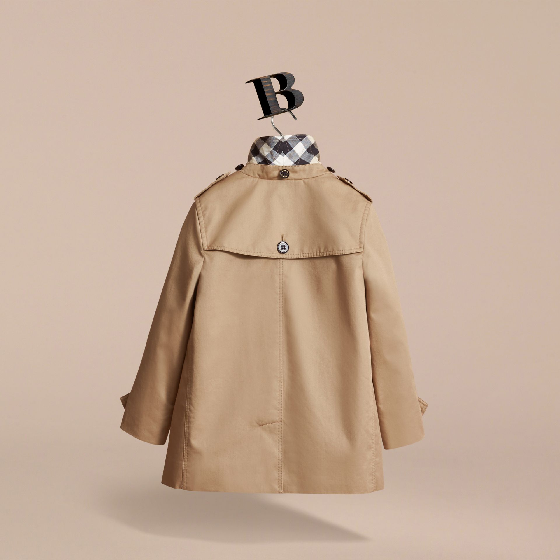 Detachable Hood Cotton Car Coat in Honey - Girl | Burberry - gallery image 4