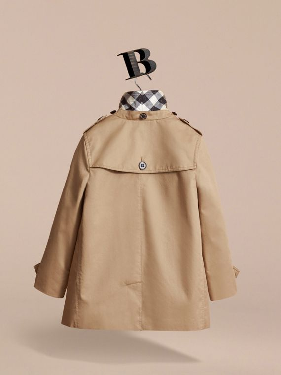 Detachable Hood Cotton Car Coat in Honey - Girl | Burberry - cell image 3