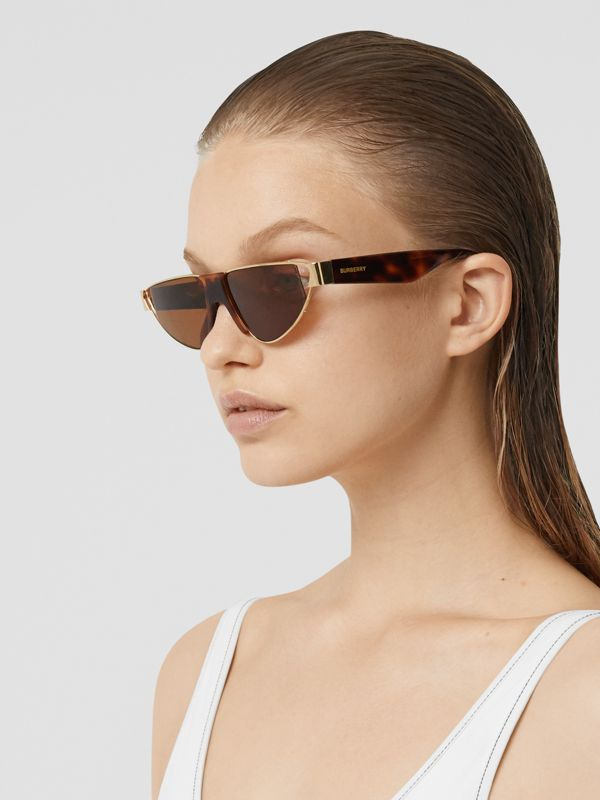 Gold-plated Triangular Frame Sunglasses in Tortoiseshell | Burberry - cell image 2