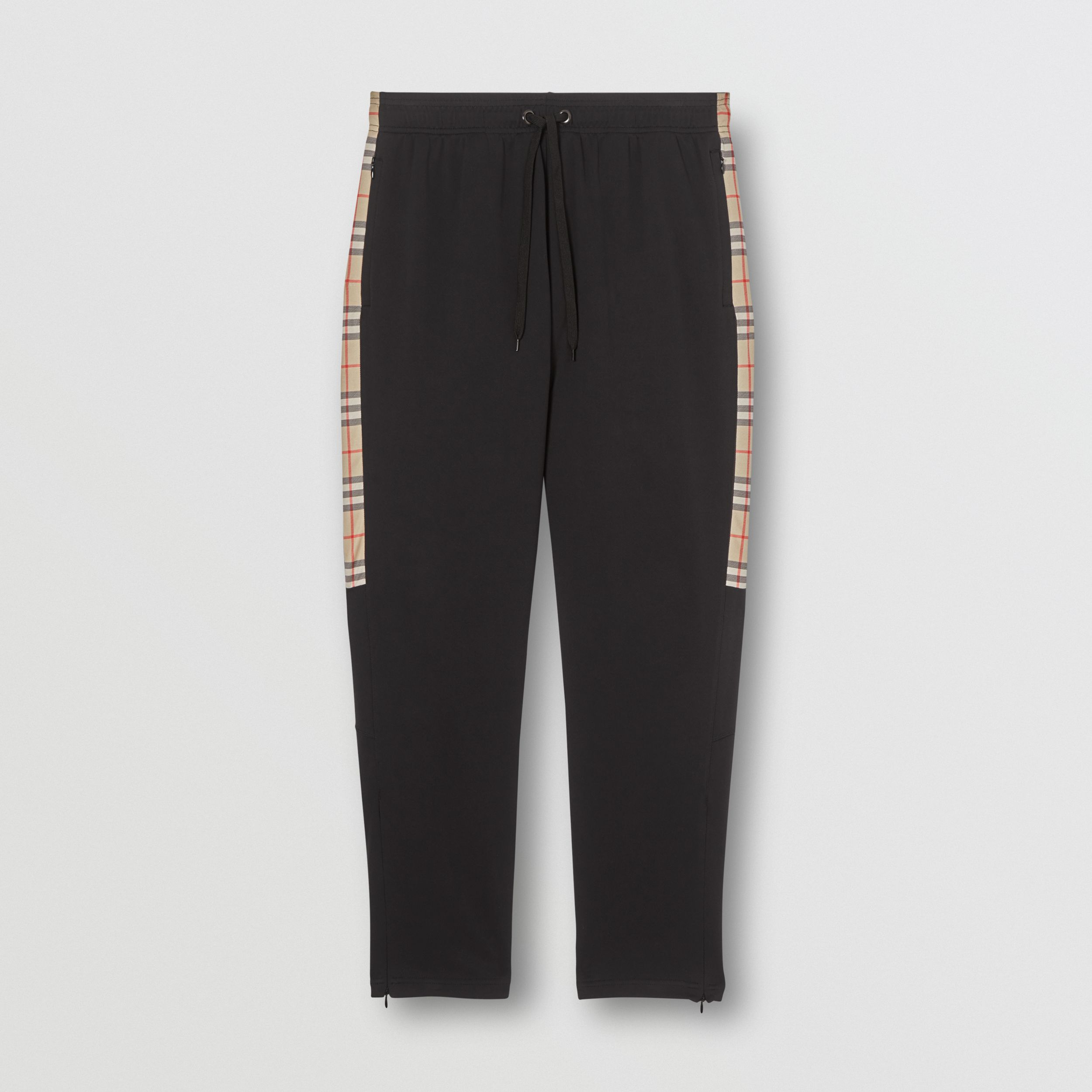 Vintage Check Detail Technical Twill Jogging Pants in Black - Men | Burberry - 4