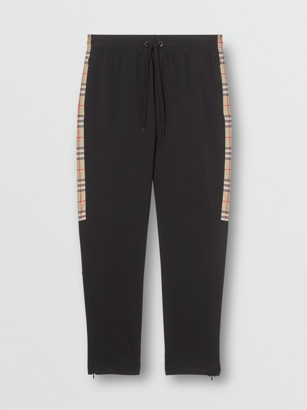 Vintage Check Trim Technical Twill Trackpants in Black - Men   Burberry - cell image 3