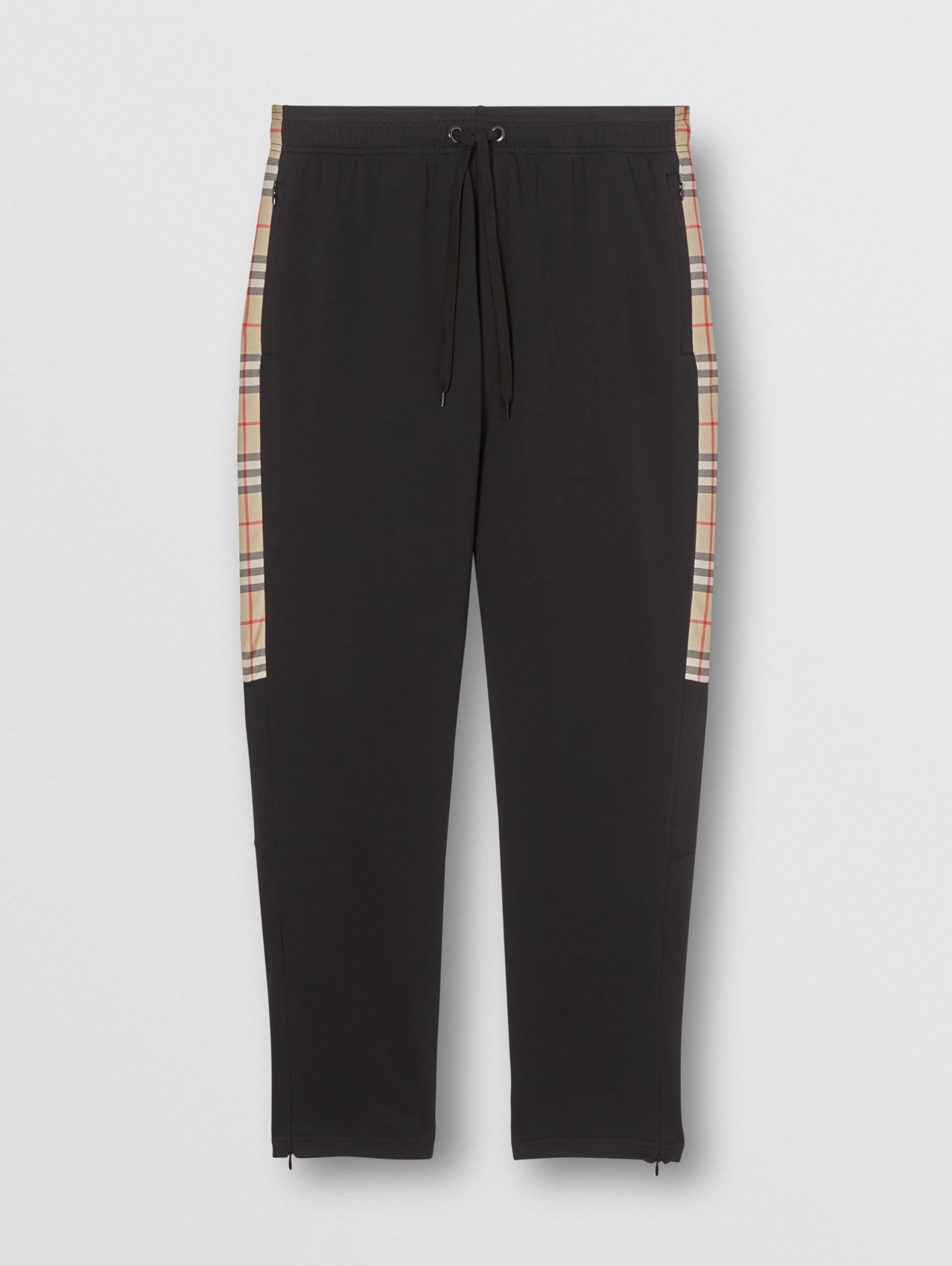 Vintage Check Detail Technical Twill Jogging Pants in Black