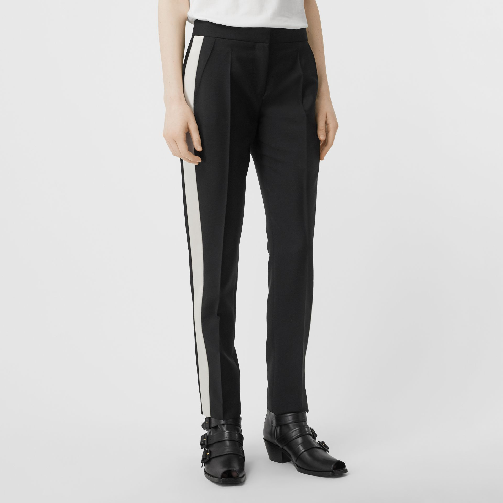 Straight Fit Silk Stripe Wool Tailored Trousers in Black - Women | Burberry - gallery image 4