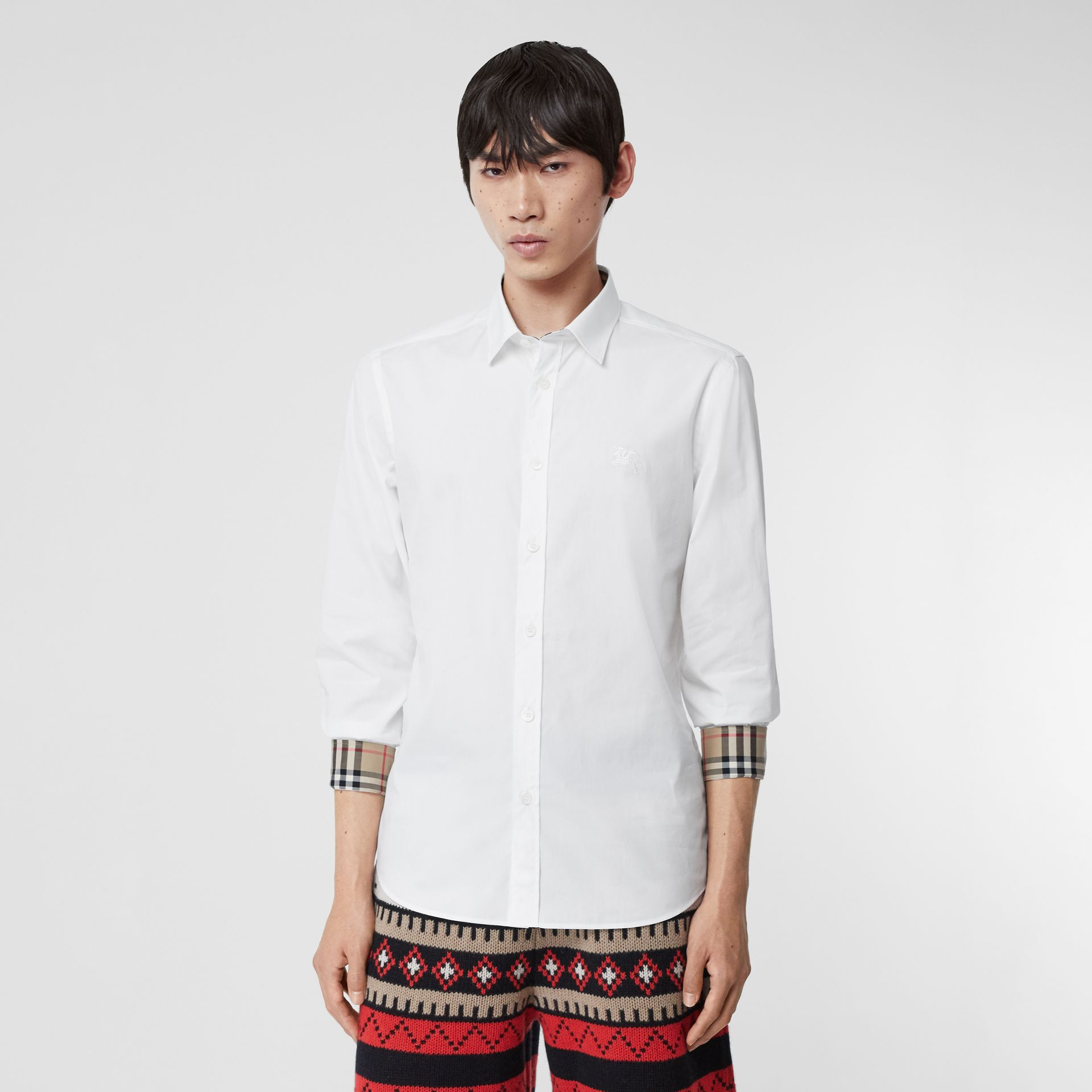 Embroidered EKD Stretch Cotton Poplin Shirt in White - Men | Burberry Hong Kong S.A.R - gallery image 0