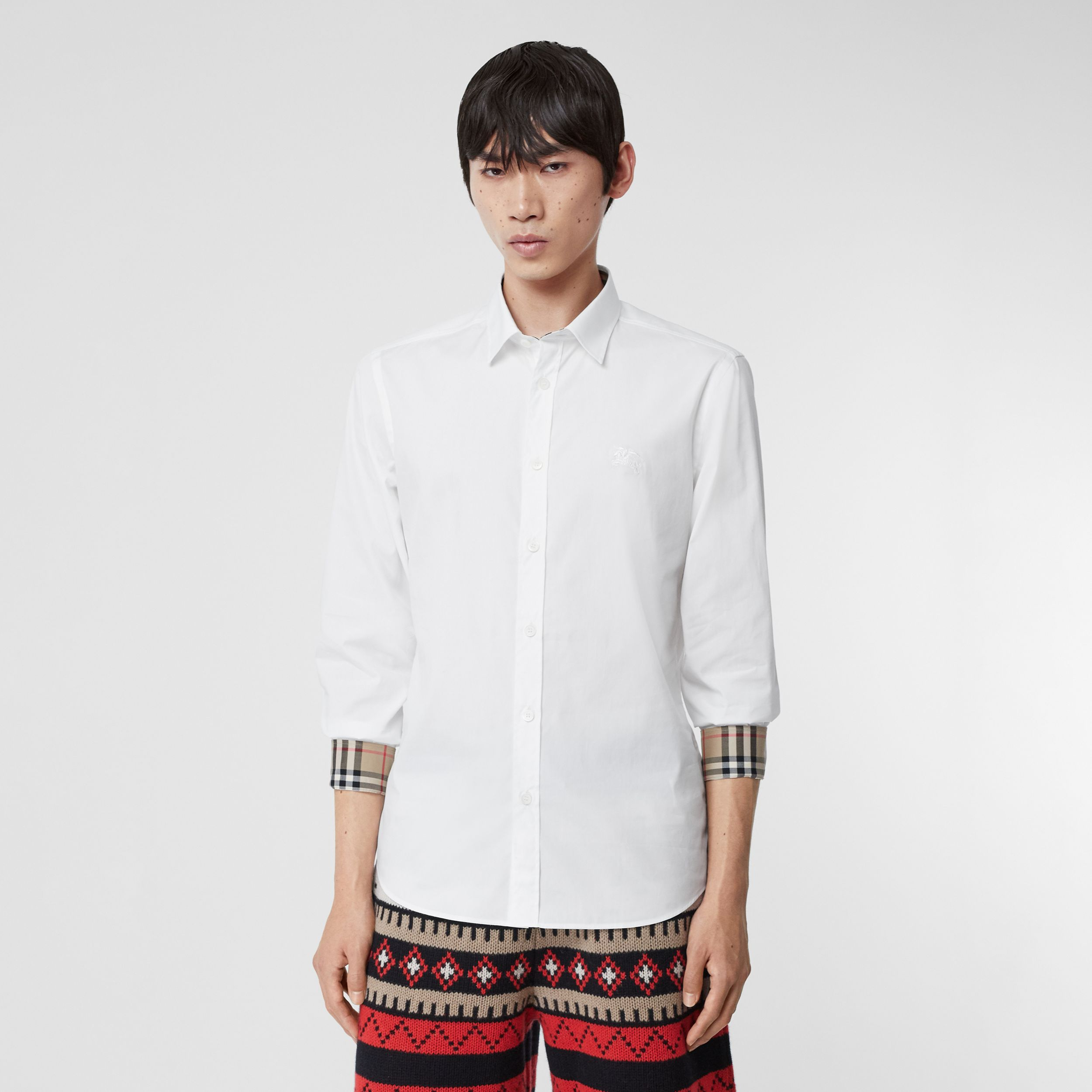 Embroidered EKD Stretch Cotton Poplin Shirt in White - Men | Burberry - 1