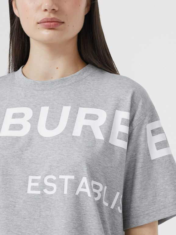 Horseferry Print Cotton Oversized T-shirt in Pale Grey Melange - Women | Burberry - cell image 1