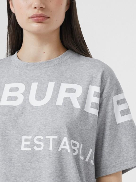 Horseferry 印花棉質寬版 T 恤 (淡混合灰) - 女款 | Burberry - cell image 1