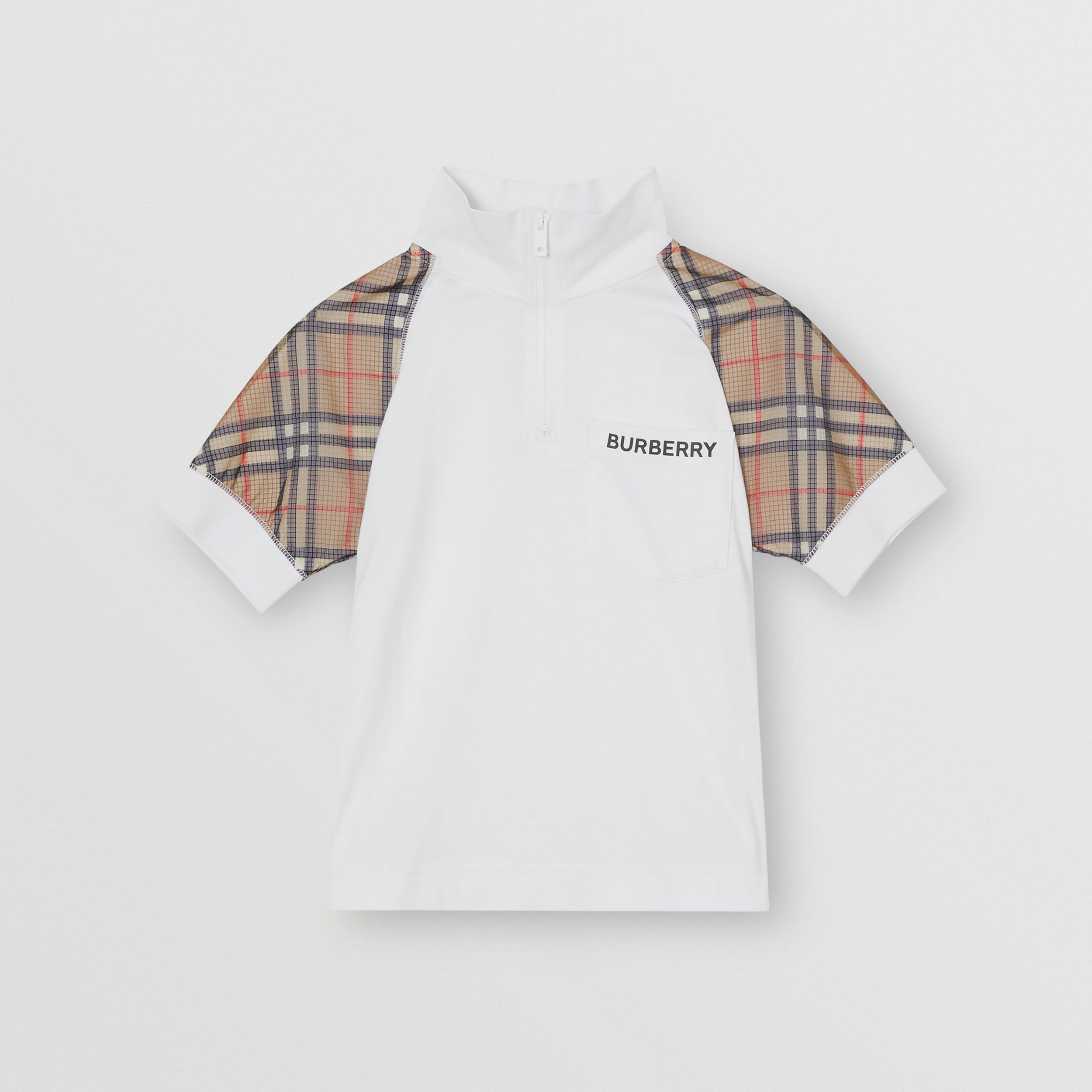 Check Detail Cotton Zip-front Polo Shirt in White | Burberry - 1