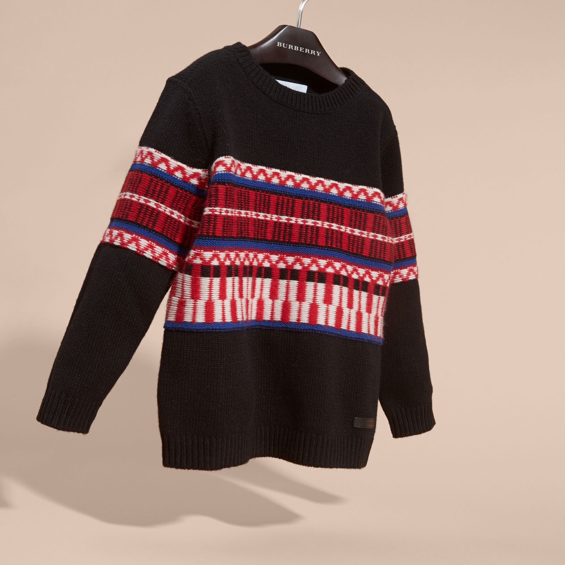 Parade red Fair Isle Wool Cashmere Sweater - gallery image 3