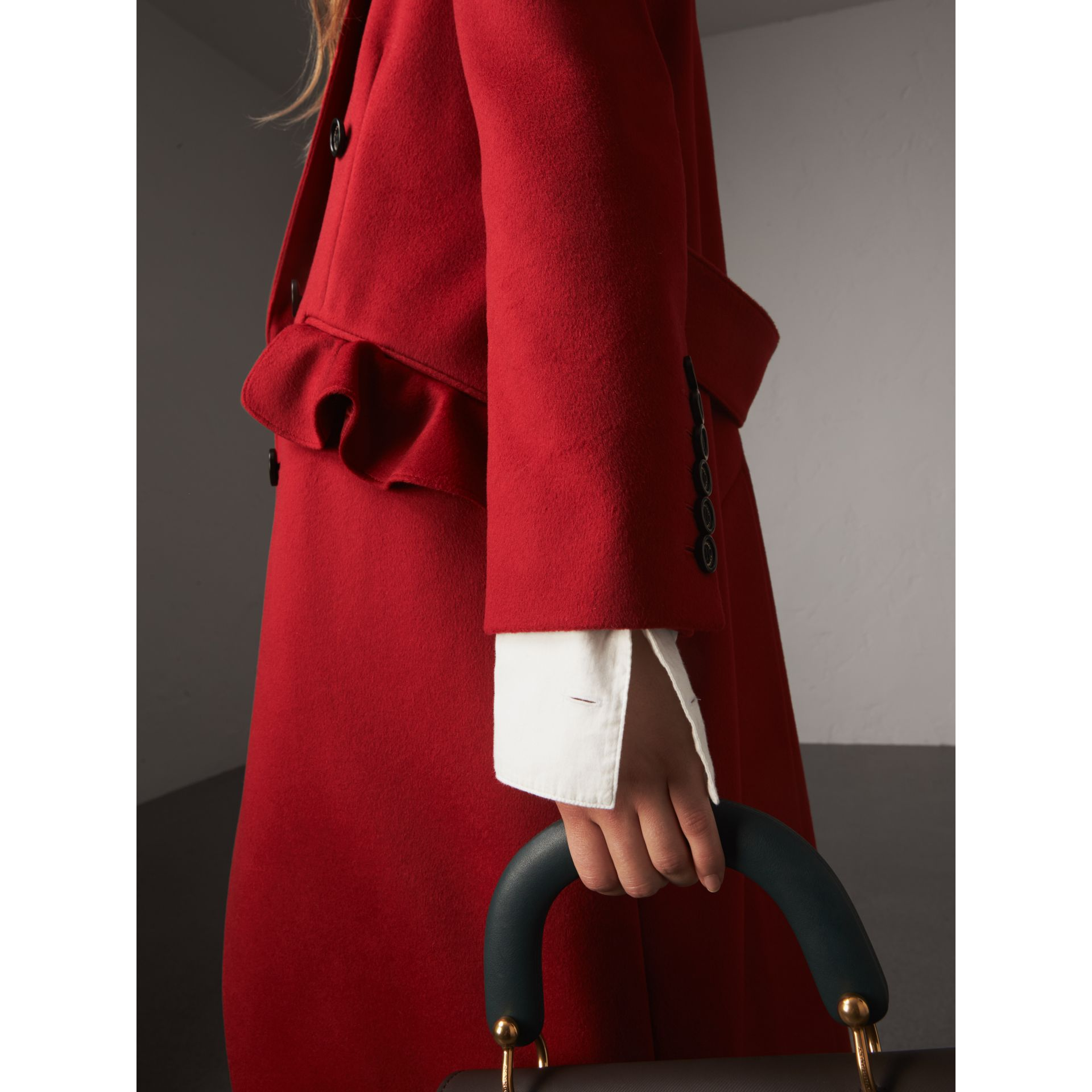 Ruffle Detail Wool Cashmere Tailored Coat in Military Red - Women | Burberry - gallery image 5