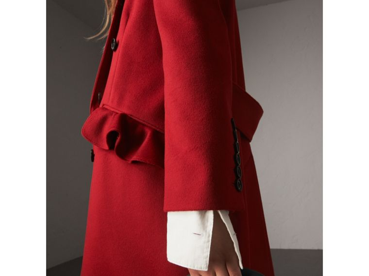 Ruffle Detail Wool Cashmere Tailored Coat in Military Red - Women | Burberry - cell image 4