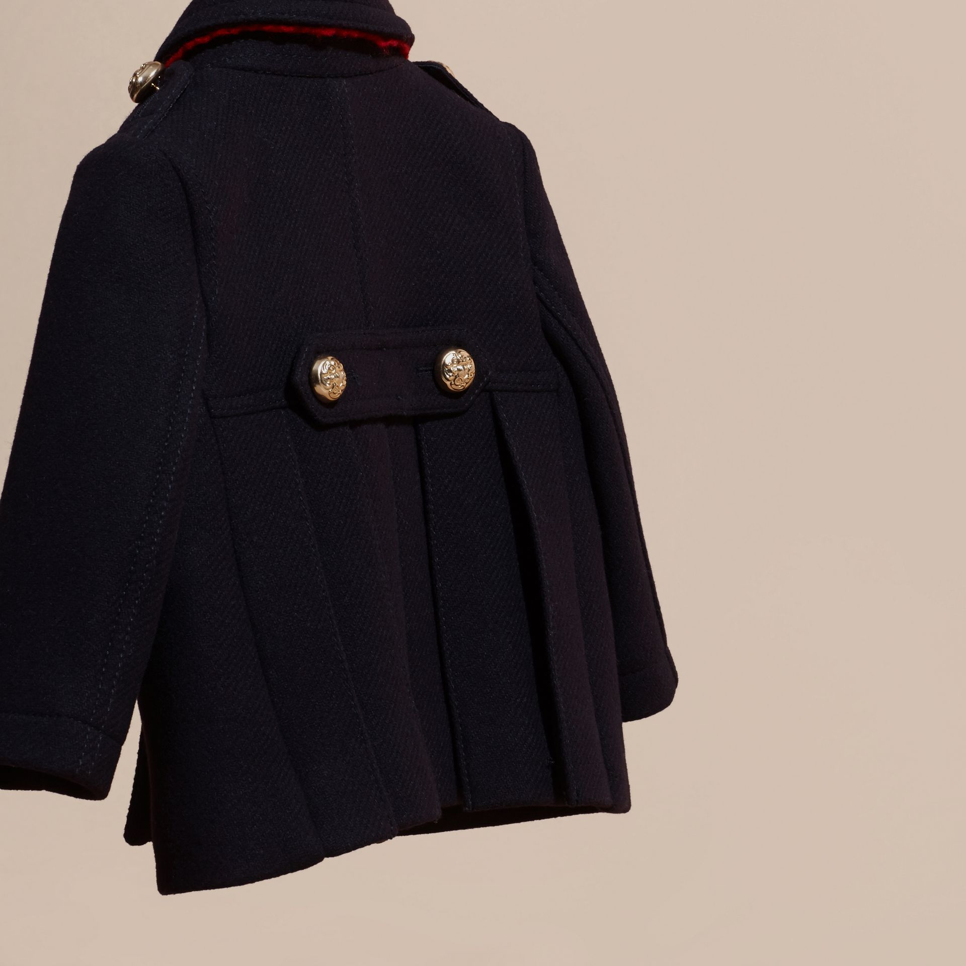 Navy Wool Cashmere Blend Pleat Detail Military Pea Coat - gallery image 4