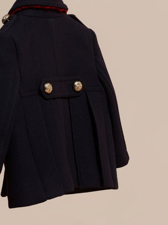 Navy Wool Cashmere Blend Pleat Detail Military Pea Coat - cell image 3