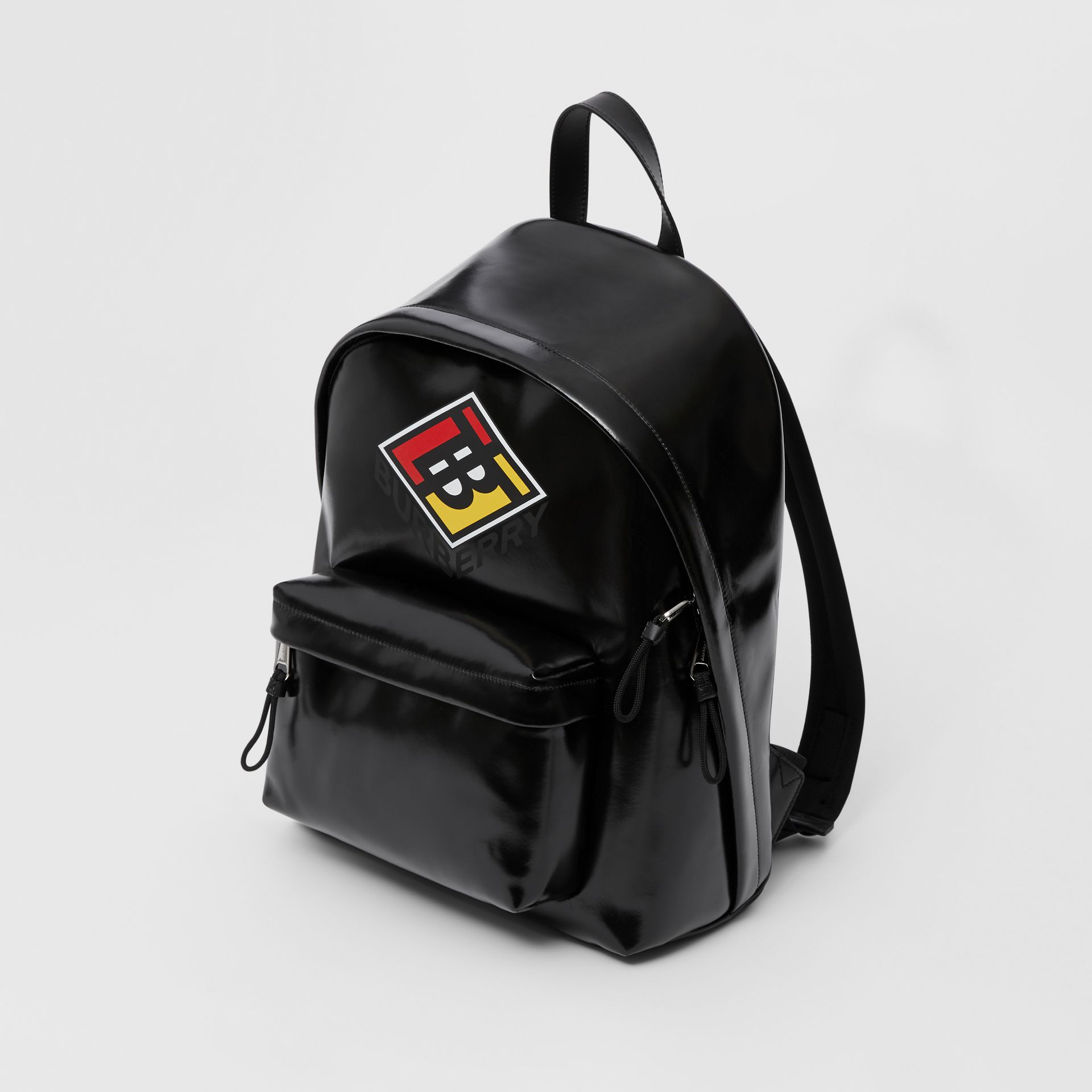 Logo Graphic Coated Canvas Backpack in Black | Burberry Hong Kong S.A.R - gallery image 3