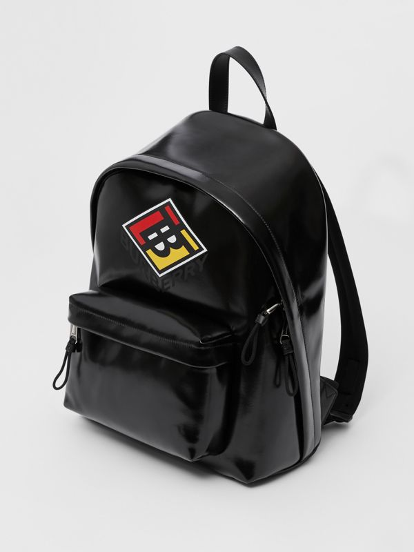 Logo Graphic Coated Canvas Backpack in Black | Burberry Hong Kong S.A.R - cell image 3