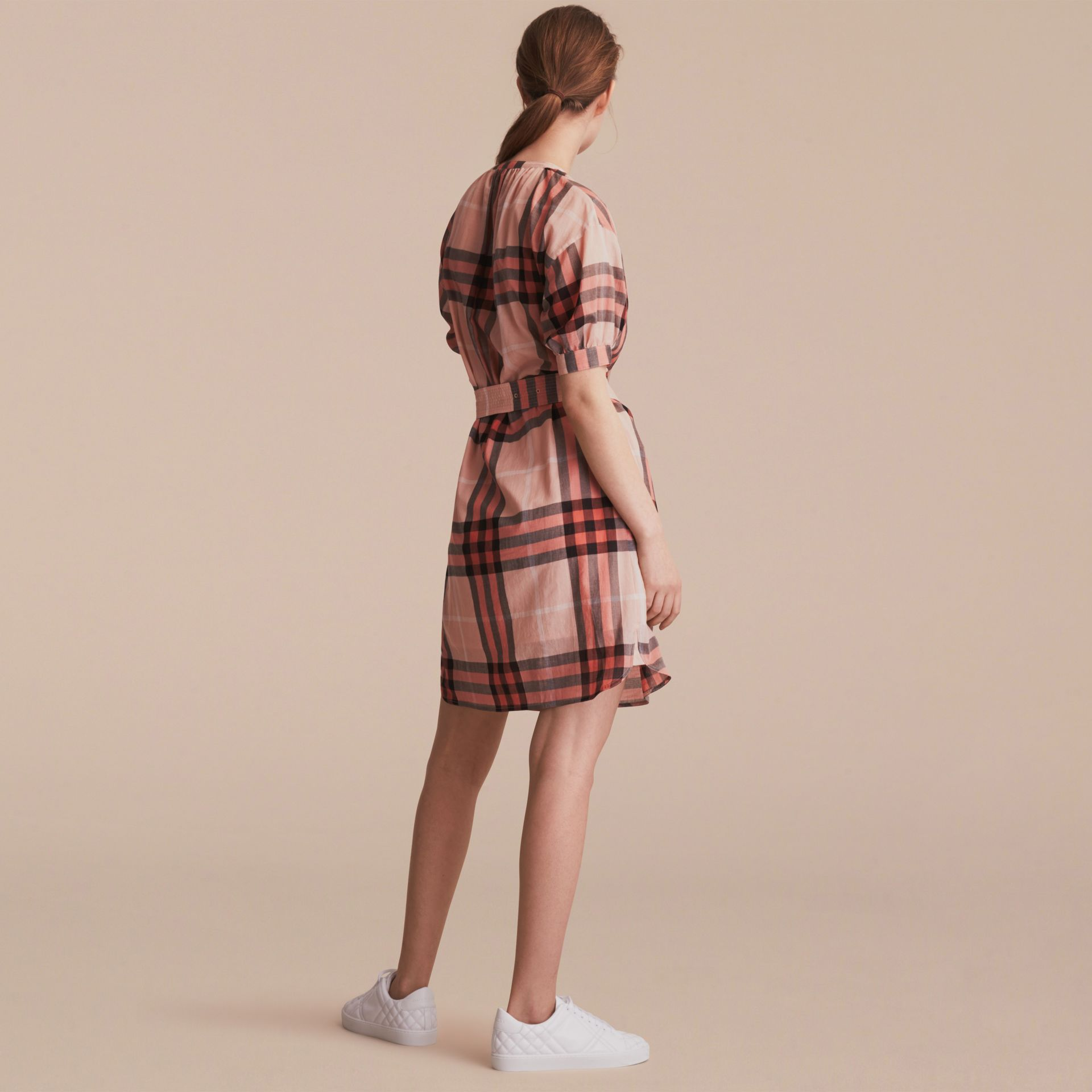 Short-sleeved Collarless Check Cotton Dress in Apricot - Women | Burberry - gallery image 3