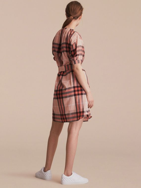 Short-sleeved Collarless Check Cotton Dress in Apricot - Women | Burberry - cell image 2