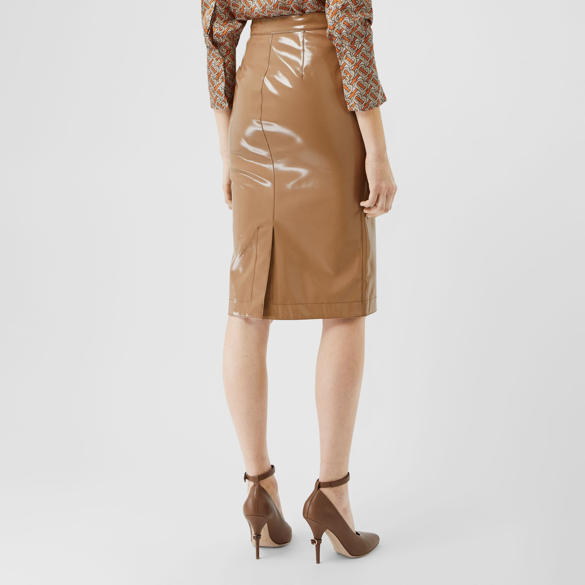 Vinyl Pencil Skirt in Utility Beige - Women | Burberry - gallery image 2