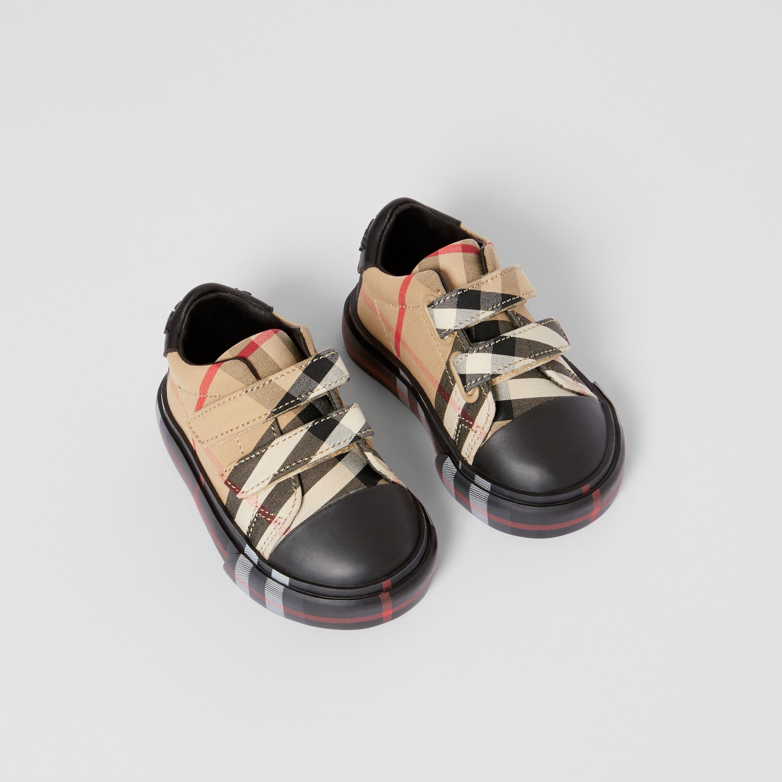 Vintage Check Cotton Sneakers in Archive Beige/black - Children | Burberry - 1