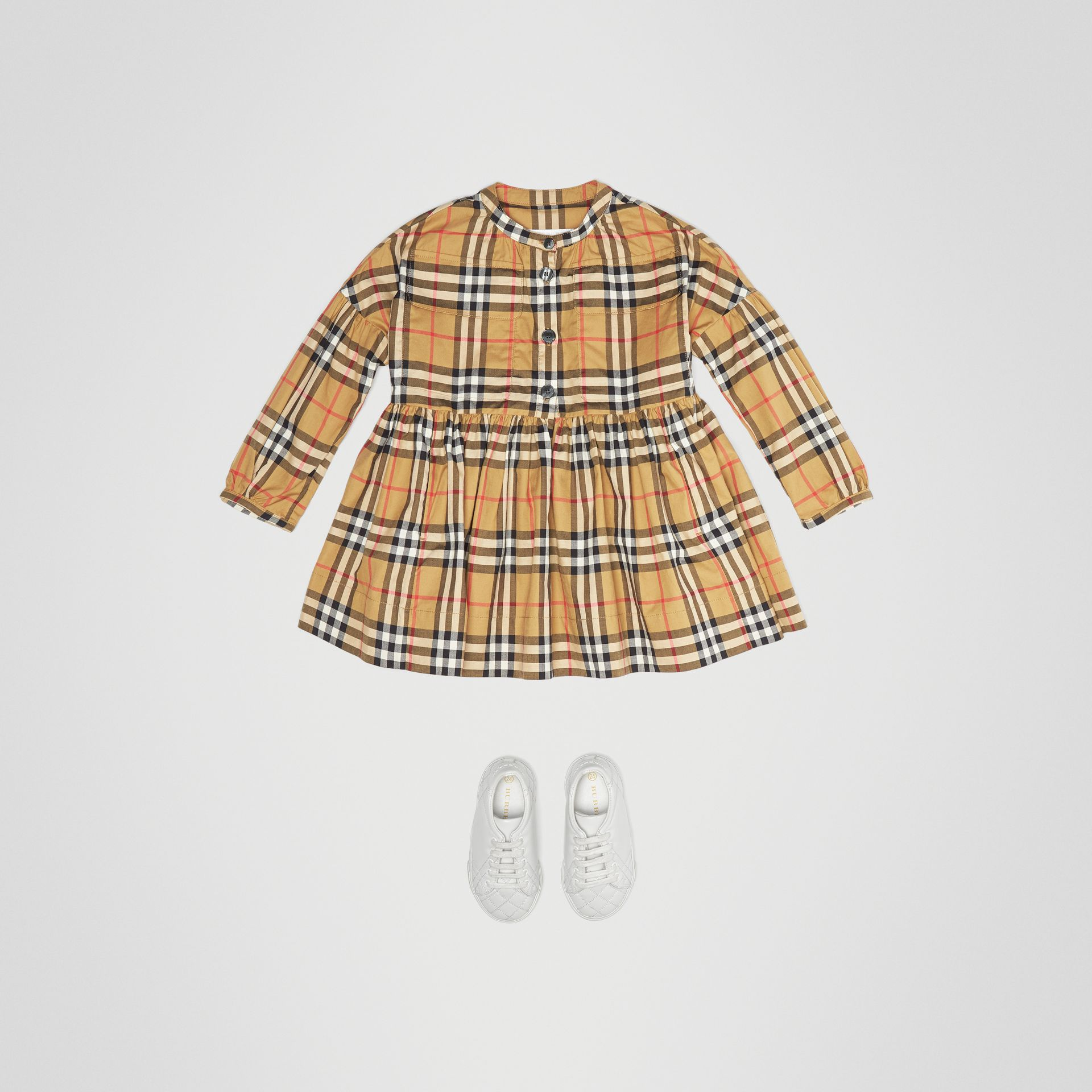 Gathered Sleeve Vintage Check Cotton Dress in Antique Yellow | Burberry United Kingdom - gallery image 2