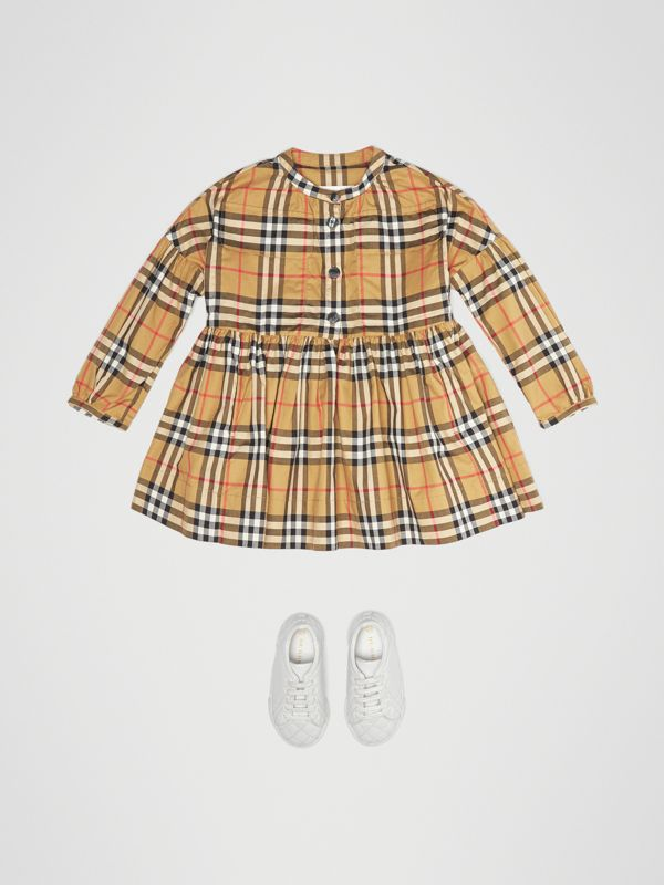 Gathered Sleeve Vintage Check Cotton Dress in Antique Yellow | Burberry - cell image 2