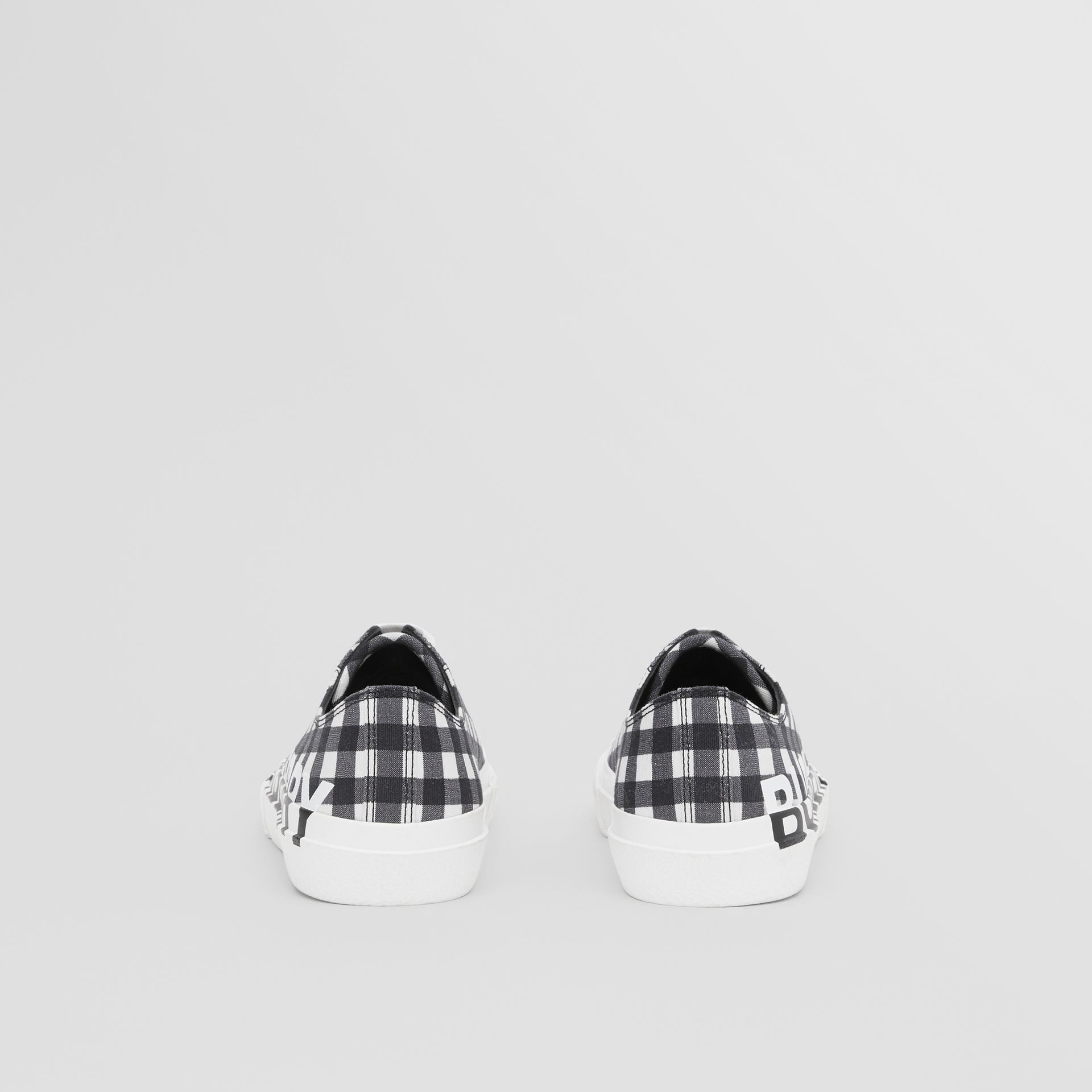 Logo Print Gingham Cotton Sneakers in Black/white - Women | Burberry - gallery image 3