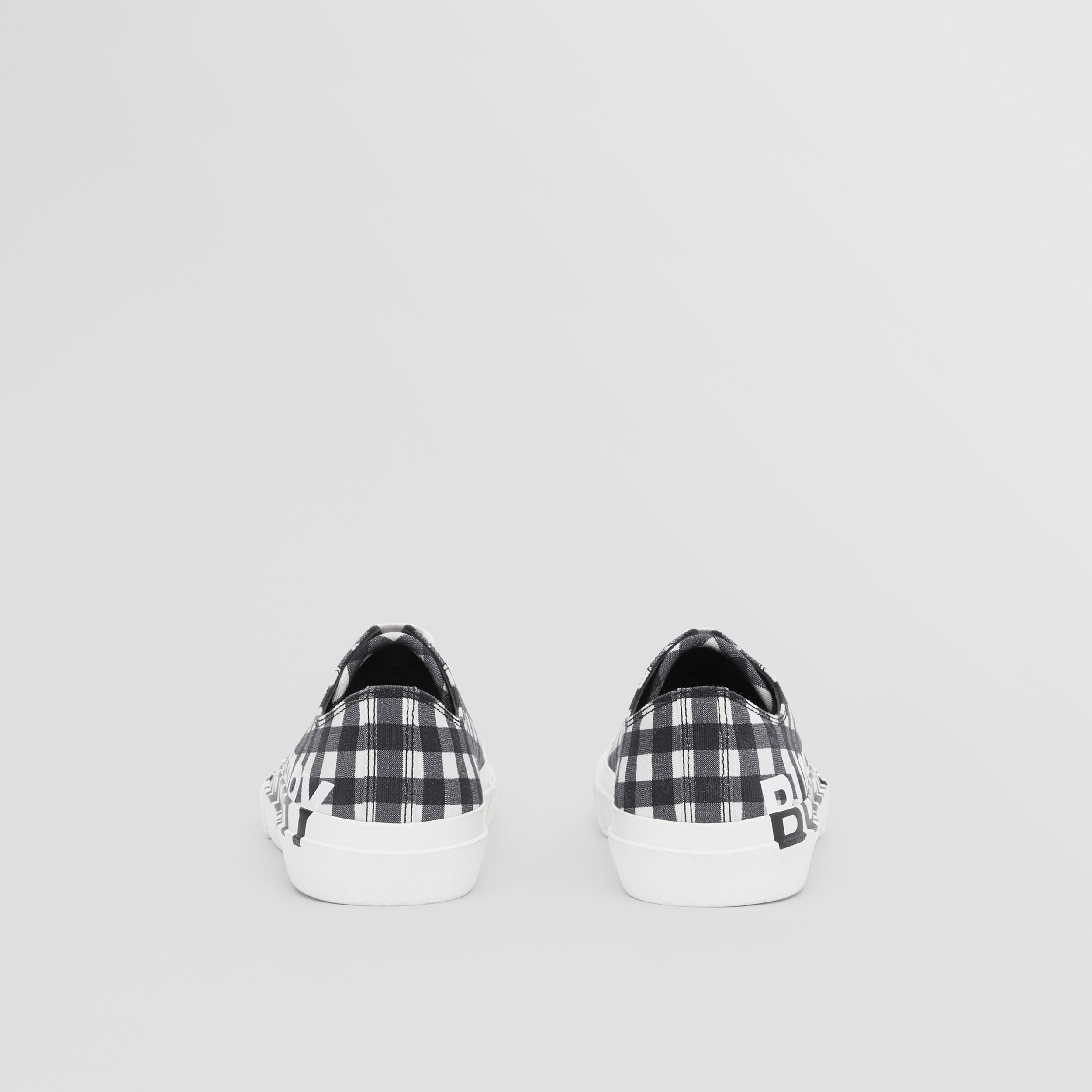 Logo Print Gingham Cotton Sneakers in Black/white - Women | Burberry Canada - 4